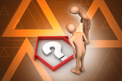 3d people looking real estate business with question mark Royalty Free Stock Images