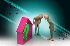 3d people looking real estate business with question mark Stock Photo