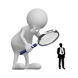 3D people with Magnifying Glass and businessman silhouette. On white background Stock Photography