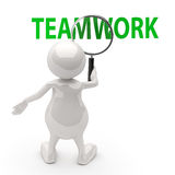 3D People with Magnifying Glass and Word teamwork. On white background Stock Photography
