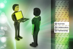 3d people make discussion with laptop. In color background Royalty Free Stock Images