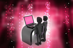 3d people make discussion with laptop. In color background Royalty Free Stock Photography