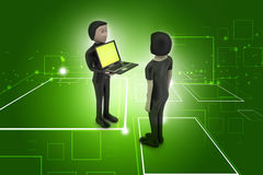 3d people make discussion with laptop. In color background Stock Photography