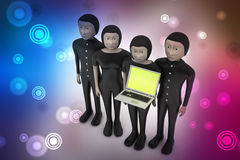 3d people make discussion with laptop. In color background Royalty Free Stock Photo