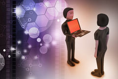 3d people make discussion with laptop. In color background Stock Photos