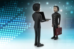 3d people make discussion with laptop. In color background Royalty Free Stock Photos