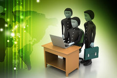 3d people make discussion with laptop Royalty Free Stock Photo