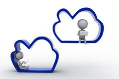 3d people - man cloud computing Royalty Free Stock Image