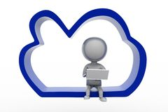 3d people - man cloud computing Royalty Free Stock Photography
