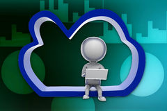3d people - man cloud computing illustration Stock Image