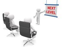 3d people - man ladder. Next level Royalty Free Stock Image