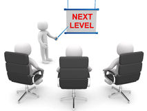 3d people - man ladder. Next level. Progress concept. Royalty Free Stock Photo