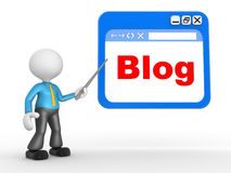 Blog. 3d people - man, people with a browser window. Blog Stock Photos