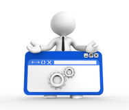 Browser. 3d people - man, people with a browser window and gear mechanism Stock Images