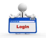 Login. 3d people - man, people with a browser window. Login Stock Photography