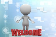 3d people - man, people and word welcome illustration Stock Photos