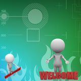 3d people - man, people and word welcome illustration Royalty Free Stock Photo