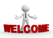 Welcome. 3d people - man, people and word welcome. Welcome gesture Royalty Free Stock Photography