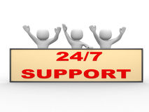 3d people - man, person and banner. 24/7 SUPPORT. 3d people - man, person and banner. 24/7 SUPPORT Royalty Free Stock Image