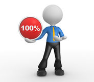Button. 3d people - man, person with a button and percent sign stock illustration