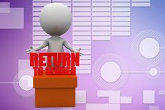 3d people - man, person with cargo return concept illustration Royalty Free Stock Photos