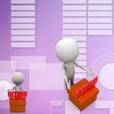 3d people - man, person with cargo return concept illustration Stock Photography