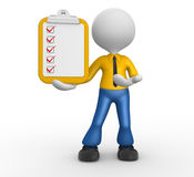 Clipboard. 3d people - man, person with clipboard and checklist Royalty Free Stock Image