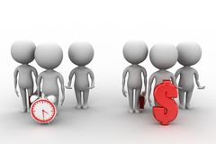 3d people - man, person and a clock  and money Royalty Free Stock Images