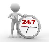 24/7. 3d people - man, person with a clock  and text  24/7 Royalty Free Stock Photos