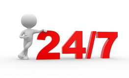 24/7. 3d people - man , person and 24/7. Concept of support Stock Image