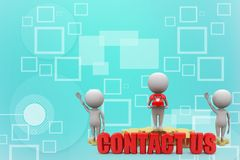 3d people - man, person with contact us illustration Stock Images