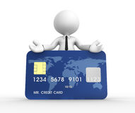 Credit card. 3d people - man, person with a credit card Stock Photos