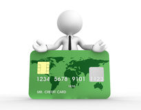 Credit card. 3d people - man, person with a credit card Stock Image