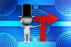 3d people - man, person with directional sign illustration Royalty Free Stock Photos