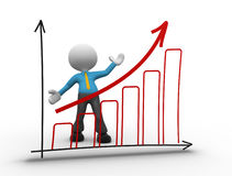 Graph chart. 3d people - man, person doing a presentation a graph chart Royalty Free Stock Photo