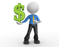 Dollar sign. 3d people - man, person with dollar sign. Businessman Royalty Free Stock Photo