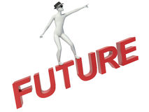 3d people - man, person flying. Future concept.  Stock Images