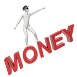 3d people - man, person flying. Money concept.  Royalty Free Stock Photo