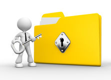 Folder. 3d people - man, person with a folder and a key Stock Images