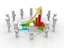 Business success Concept .3d rendering. 3d people - man, person with a graph financial. Businessmen Stock Photos