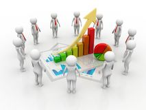 Business success Concept .3d rendering. 3d people - man, person with a graph financial. Businessmen Stock Photography