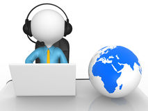 Office. 3d people - man, person with headphones and laptop at a office. Earth globe Stock Image
