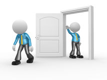 Businessman. 3d people - man, person kicked out the door Royalty Free Stock Photos