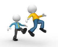 Businessman. 3d people - man, person kicking in the behind the opponent Stock Photos