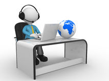 Office. 3d people - man,  person with a laptop and headphones at a office. Earth globe Royalty Free Stock Image