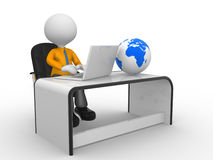 Office. 3d people - man,  person with a laptop at a office. Earth globe Stock Photography