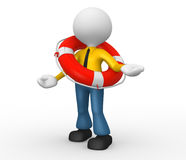Businessman. 3d people - man, person with a life buoy. Businessman Royalty Free Stock Photos
