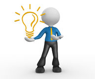 Light bulb. 3d people - man, person with a light bulb. Energy efficiency Stock Photos