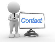 Contact. 3d people - man, person with a monitor Royalty Free Stock Photo