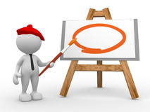 Painter. 3d people - man, person painting on a canvas on an easel Stock Photo